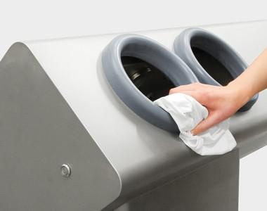 Hoe maak je het hygiënestation schoon?