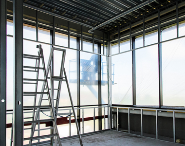 Wall and window profiles, pipes and overhead crane